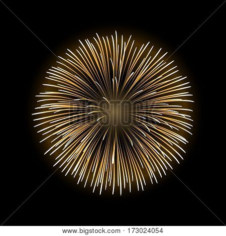 Firework gold sparkle isolated background. Beautiful golden fire explosion decoration holiday Christmas New Year birthday. Symbol festival American 4th july celebration. Vector illustration