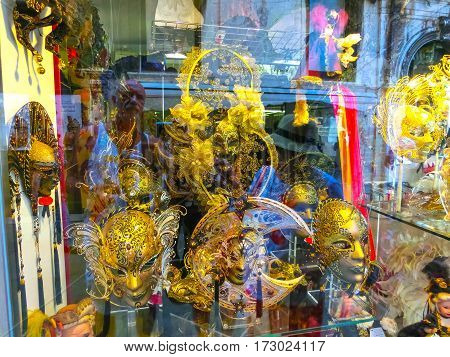Venice, Italy - June 13, 2015: Venetian carnival masks, souvenir shop on a street of Venice, Veneto, Italy on June 13, 2015