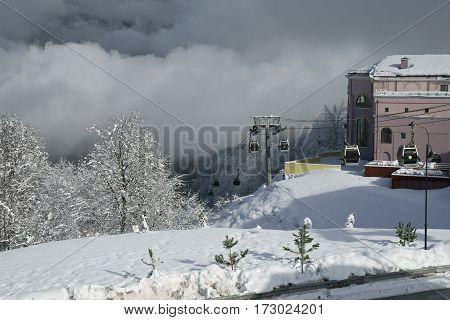 Sochi, Russia - January 21, 2017: Ski infrastructure in Gorky Gorod 960 meters above sea level