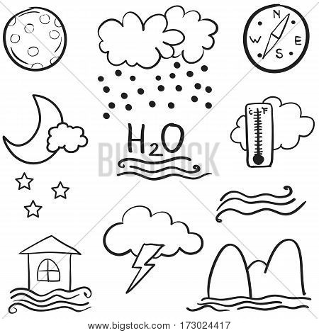 illustration of weather set doodles collection stock