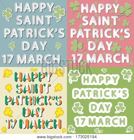 vector set of different rounded headline lettering as new paper flat design and retro style of happy Saint Patrick's day 17 march