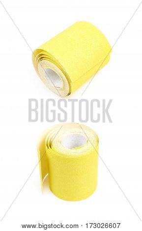 Roll of a sandpaper emery paper isolated over the white background, set of two different foreshortenings poster
