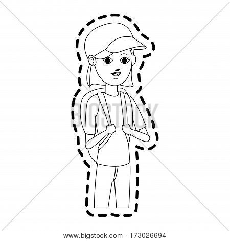 pretty young woman wearing baseball cap and backpack  icon image vector illustration design