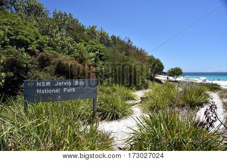 Hyams beach Australia - Jan 7 2017. The sign of Jervis Bay National Park at Hyams beach. Jervis Bay is an oceanic bay and village on the south coast of NSW with the whitest sand in the world.