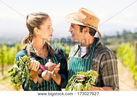 Happy farmer couple holding leafy vegetables looking at each other