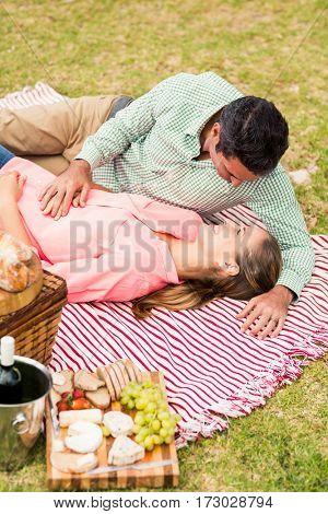 Happy couple relaxing on a blanket in vineyard