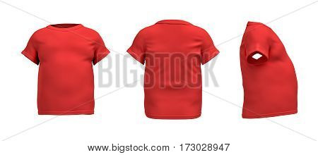 3d rendering of a red T-shirt in realistic fat shape in side, front and back view on white background. Closes and apparel. Sport and dieting. Sales and promotions.