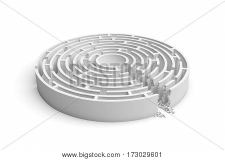 3d rendering of a white round maze with a direct route cut right to the center. Puzzles and problems. Unexpected solutions. Mazes and labyrinths.