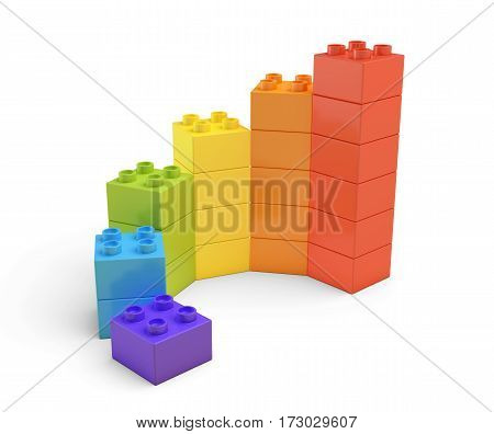 3d rendering of multi-colored toy blocks making up spiral stairs. Building sets. Children toys. Leisure and recreation.