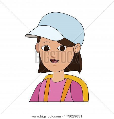 pretty young woman with white baseball cap  icon image vector illustration design