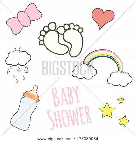 baby shower card, illustration in vector format