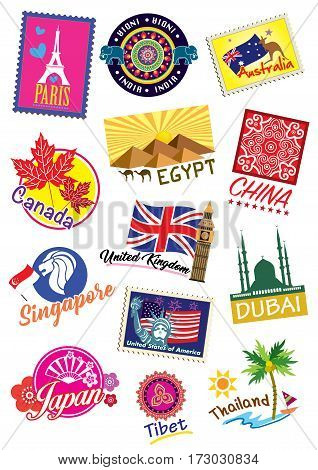 Different world country travel landmark label set