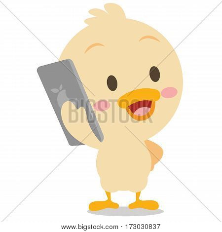 Vector art of duck with phone collection stock