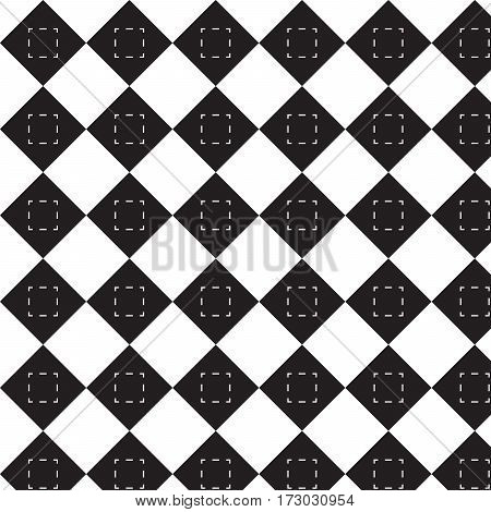 crosswise black squares with dash line pattern background vector illustration image