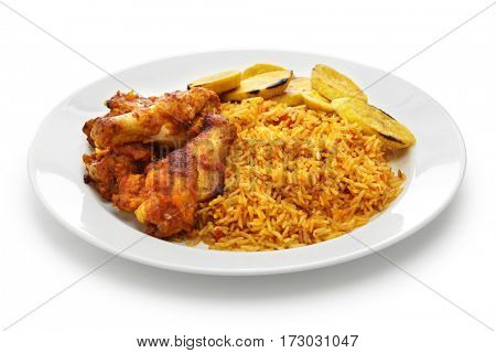 jollof rice with chicken and fried plantain, west african cuisine isolated on white background