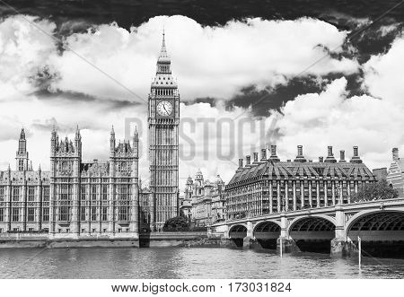 Big Ben is the nickname for the great bell of the clock at the north end of the Palace of Westminster in London and is often extended to refer to the clock and the clock tower. Monochrome image.