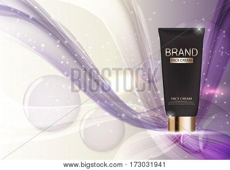 Face Cream Bottle Tube Template for Ads or Magazine Background. 3D Realistic Vector Iillustration. EPS10