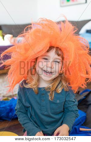 Funny Child With Orange Wig