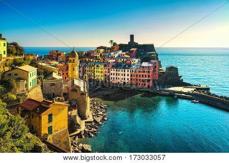 Vernazza village aerial panoramic view. Cinque Terre National Park Liguria Italy Europe.