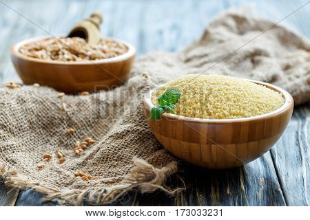 Couscous In A Wooden Bowl.