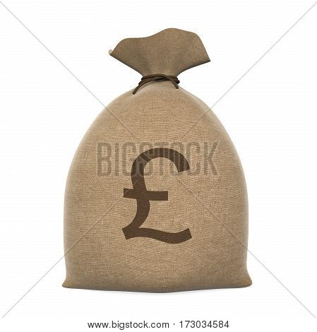 Sack Money Pound isolated on white background. 3D render