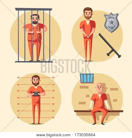 Prison. Cartoon vector illustration. Criminal in orange uniform. Arrest, tribunal and imprisonment. For posters and banners