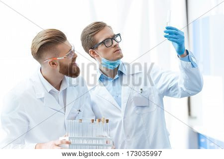 Young men chemists in glasses looking at test tube in laboratory