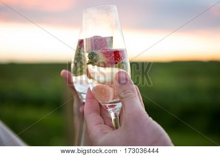 Close-up of couple toasting glass of champagne in field