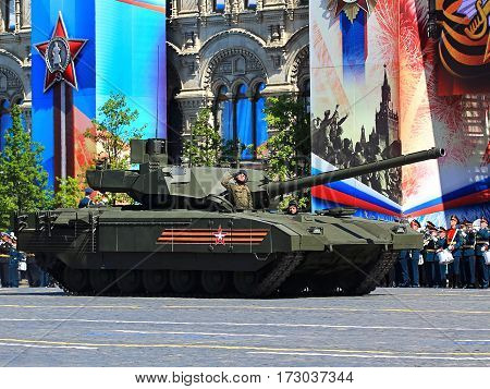 MOSCOW - MAI 9:  -  Newest russian main tank  t-14 with uninhabited tower based on the universal track