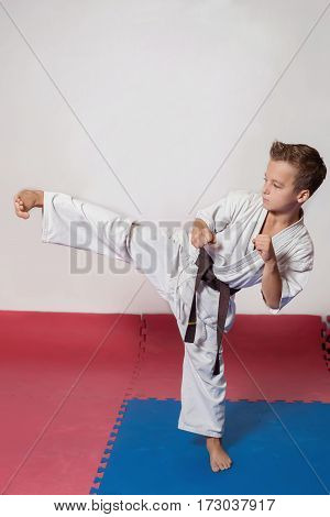 Children during training in karate. Fighting position active lifestyle