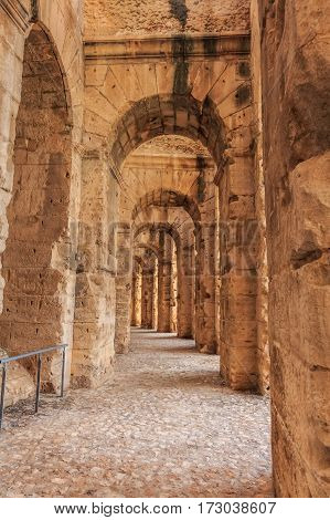 Ruins of the largest colosseum in North Africa in El Jem, Tunisia. The object of UNESCO World Heritage