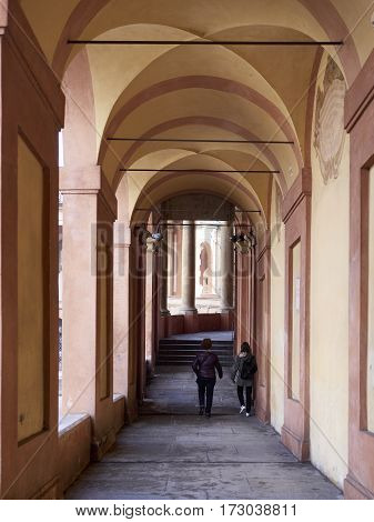 Colonnade of San Luca Sanctuary in Bologna Italy