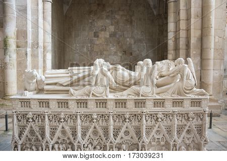 ALCOBACA, PORTUGAL - OCTOBER 16, 2015: The tomb of king Pedro I in the Alcobaca Monastery a Mediaeval Roman Catholic monastery located in the town of Alcobaca Portugal
