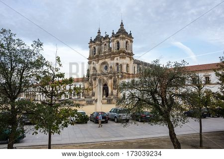 ALCOBACA, PORTUGAL - OCTOBER 16, 2015: The Alcobaca Monastery is a Mediaeval Roman Catholic monastery located in the town of Alcobaca Portugal