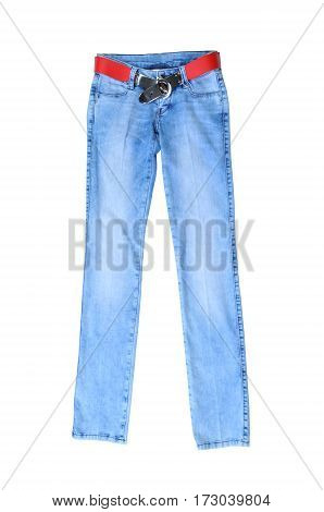light blue jeans female with a red belt isolated on white background