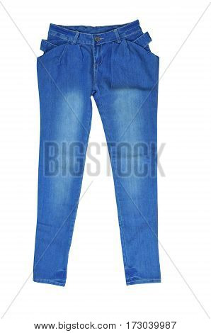 Female Blue Jeans isolated on white background.