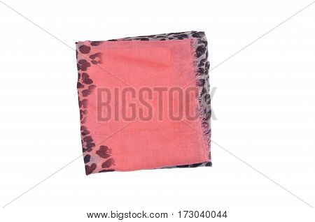 Scarf isolated on white backgroun. pink shawl in a black spot folded