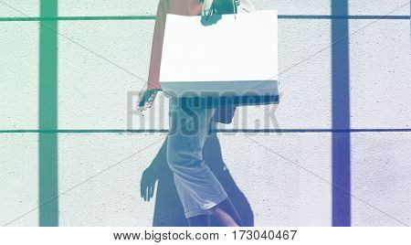 Photo Gradient Style with Woman walking around with shopping bag