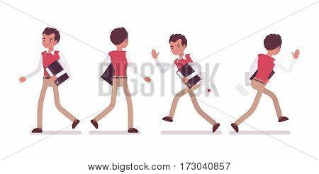 Set of young male typical office worker in a business smart casual wear, walking and running poses, delivering papers, completing task, full length, front and rear view, isolated, white background