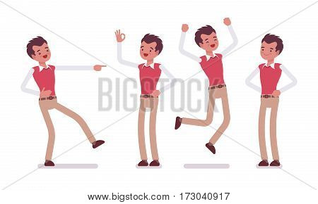 Set of smiling young male typical office worker in a business smart casual wear, showing positive emotions, successful, jumping with joy, laughing, full length, front view isolated, white background