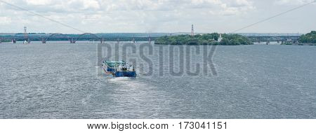 Navigation on a big Ukranian river Dnepr in Dnepropetrovsk city Ukraine.