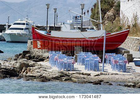 Seaside dining beach bar restaurant in Mykonos