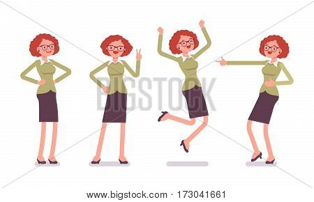 Set of smiling young female typical office worker in a business smart casual wear, showing positive emotions, successful, jumping with joy, laughing, full length, front view isolated, white background