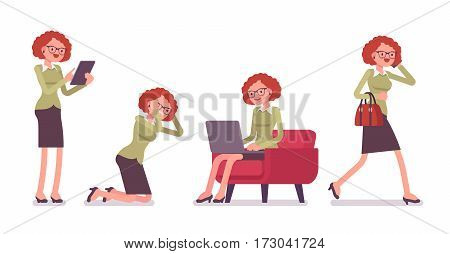 Office scene with busy young female typical office worker in a business smart casual wear, talking on phone, walking, sitting with laptop, standing with tablet, full length, isolated, white background