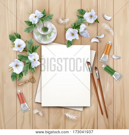 Vector background with brushes, blank sheets of paper, white flowers and paints. Artist workplace top view.