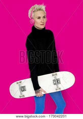 Woman Headphone Skateboard lifestyle Concept