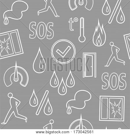 Alarm, background, seamless, fire detectors, humidity, motion, temperature, contour, gray.  Vector flat background with pictures of alarm for alarm sensors. White line icons on gray field.