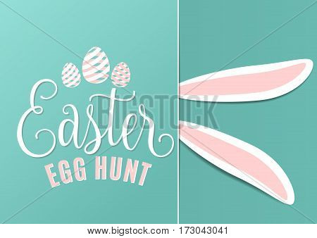Vector illustration of cute fun happy easter egg hunt with easter bunny ears, striped line eggs, hand drawing lettering greeting text sign on blue background