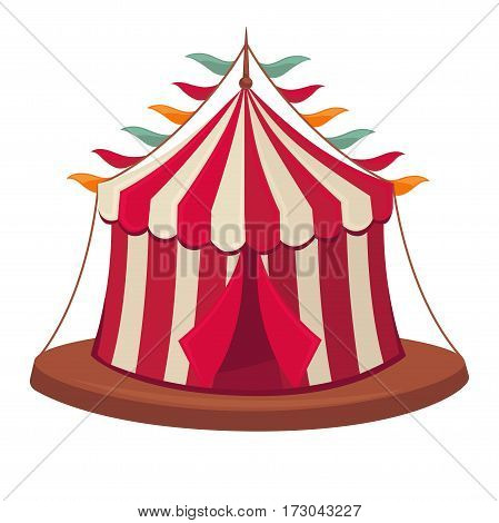 Circus tent vector isolated retro stage flat icon