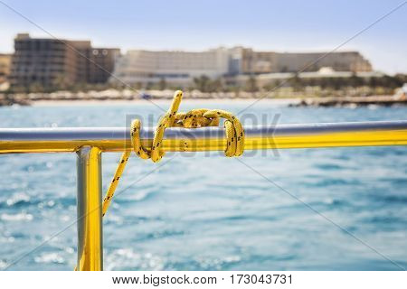 View from boat deck on the sea waves